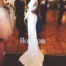 White Satin Prom Dress,Floor Length Prom Dresses,Evening Dress
