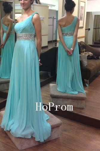One Shoulder Prom Dress,Blue Beaded Prom Dresses,Evening Dress