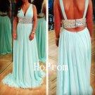 Open Back Prom Dress,Mint Prom Dresses,Evening Dress