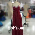 Burgundy Sweetheart Prom Dress,Chiffon Prom Dresses,Evening Dress