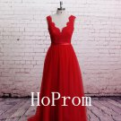 V-Neck Prom Dress,Red Lace Prom Dresses,Evening Dress