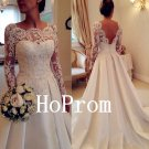 Long Sleeve Prom Dress,White Lace Prom Dresses,Evening Dress