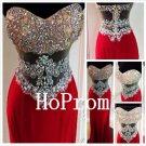Sweetheart Prom Dress,Red Satin Prom Dresses,Evening Dress