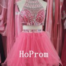 Two Piece Prom Dress,Short Mini Prom Dresses,Evening Dress