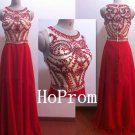 A-Line Prom Dress,Red Beading Prom Dresses,Evening Dress