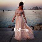 Sheer Neck Prom Dress,Long Sleeve Prom Dresses,Evening Dress