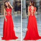 Sheer Back Prom Dress,Sleevless Red Prom Dresses,Evening Dress