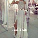 A-Line White Prom Dress,Halter Chiffon Prom Dresses,Evening Dress