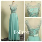 White Applique Prom Dress,Mint Chiffon Prom Dresses,Evening Dress