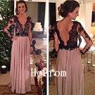 Black Applique Prom Dress,Long Sleeve Prom Dresses,Evening Dress