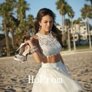 Two Piece Prom Dress,Lace Tulle Prom Dresses,Evening Dress