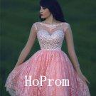 Sheer Lace Prom Dress,Knee Length Prom Dresses,Evening Dress