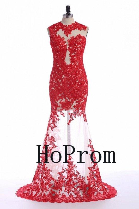Sleeveless Red Prom Dress,Applique Prom Dresses,Evening Dress