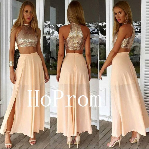 Two Piece Prom Dress,Sequin Prom Dresses,Evening Dress