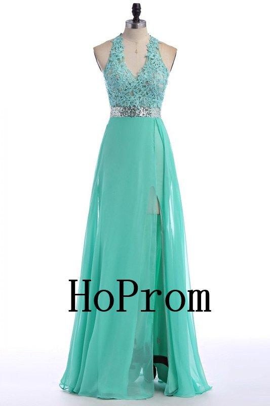V-Neck Halter Prom Dress,Chiffon Prom Dresses,Evening Dress