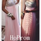 Sleeveless Beaded Prom Dress,A-Line Prom Dresses,Evening Dress