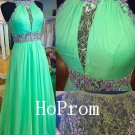 Lace Chiffon Prom Dress,Beaded Prom Dresses,Evening Dress
