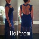 Sleeveless Prom Dress,Lace Prom Dresses,Evening Dress