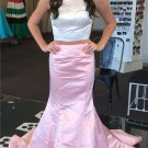 Two Piece Prom Dress,Satin Long Prom Dresses,Evening Dress