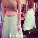 Two Piece Prom Dress,High Neck Prom Dresses,Evening Dress