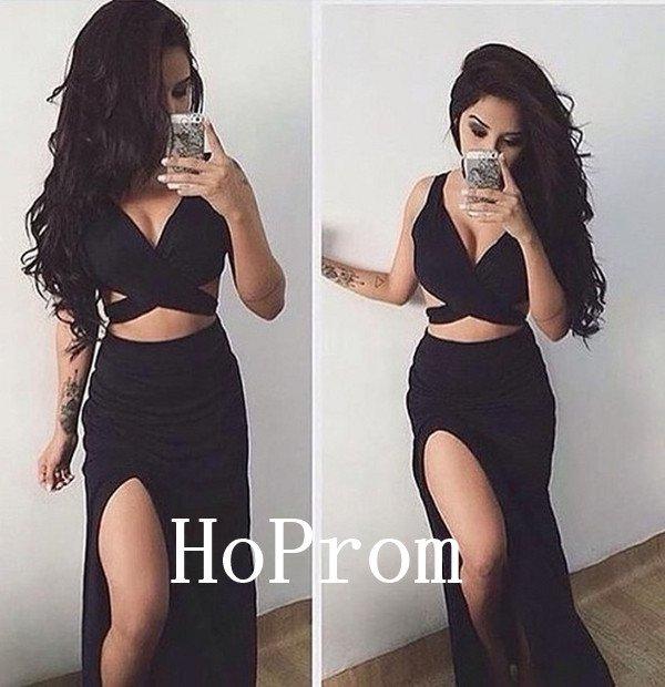 Black Satin Prom Dress,Split Prom Dresses,Evening Dress