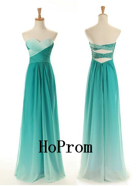 Strapless Green Prom Dress,A-Line Prom Dresses,Evening Dress