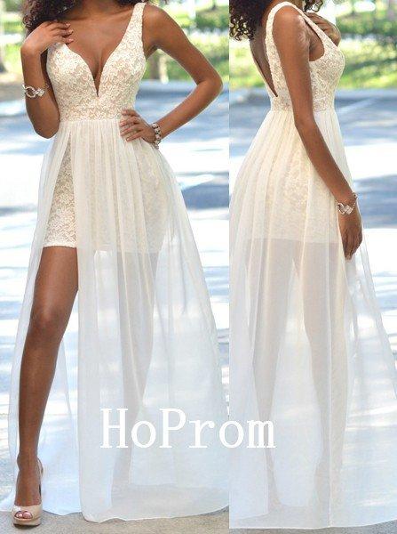 Sleeveless Prom Dress,Lace Chiffon Prom Dresses,Evening Dress