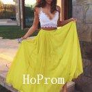 Spaghetti Straps Prom Dress,Yellow Chiffon Prom Dresses,Evening Dress