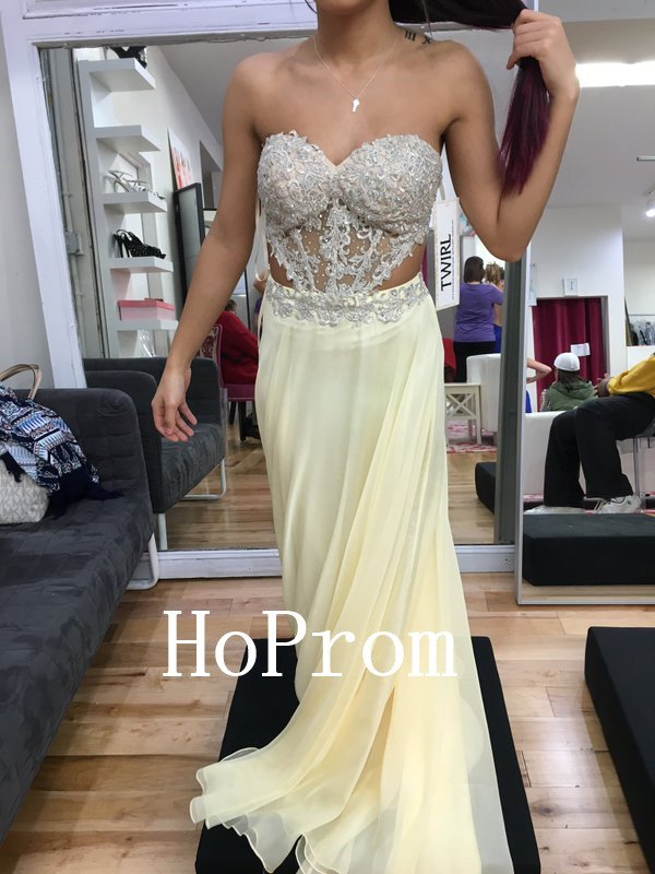 Light Yellow Prom Dress,Strapless Prom Dresses,Evening Dress