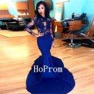 Royal Blue Prom Dress,Lace Satin Prom Dresses 2017