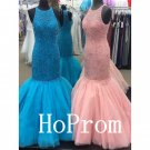 Halter Beading Prom Dress,Sheath Prom Dresses 2017