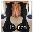 Off Shoulder Prom Dress,Black Mermaid Prom Dresses 2017