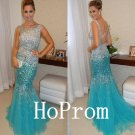 Crystal Beaded Prom Dress,Backless Prom Dresses 2017