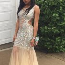 Sleeveless Prom Dress,Crystals Prom Dresses 2017