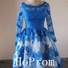 Knee Length Prom Dress,Blue Lace Prom Dresses 2017