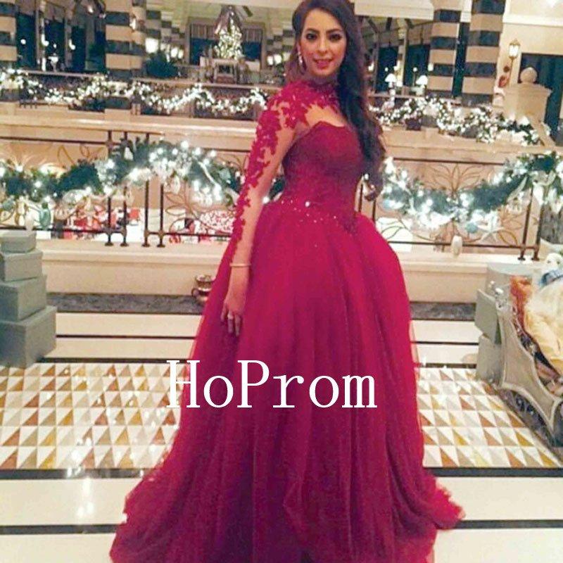 High Neck Prom Dress,Long Sleeve Prom Dresses 2017