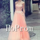 Strapless Coral Prom Dress,Applique Prom 2017