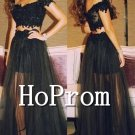 Off Shoulder Prom Dress,Two Piece Prom Dresses 2017