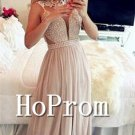 Sleeveless Beaded Prom Dress,A-Line Prom Dresses 2017