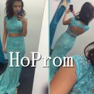 Two Piece Prom Dress,Blue Lace Prom Dresses 2017