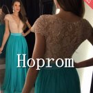 Cap Sleeve Prom Dress,Lace Chiffon Prom Dresses 2017