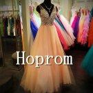 Sleeveless Beaded Prom Dress,V-Neck Prom Dresses 2017
