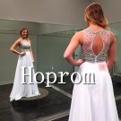 White Chiffon Prom Dress,A-Line Prom Dresses 2017