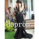 Black Beaded Prom Dress,Mermaid Prom Dresses  2017