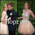 Backless Prom Dress,Halter Short Prom Dresses 2017