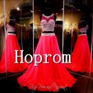 Two Piece Prom Dress,Red Beading Prom Dresses 2017