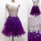 One Shoulder Prom Dress,Purple Short Prom Dresses  2017