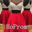 Spaghetti Straps Prom Dress,Short Red Prom Dresses  2017