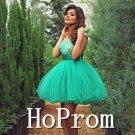 Sleeveless Green Prom Dress,Short Tulle Prom Dresses  2017