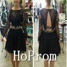 Long Sleeve Prom Dress,Black Lace Prom Dresses  2017